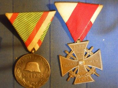 Original WWI Hungarian medal plus post-war Austrian medal for WWII service