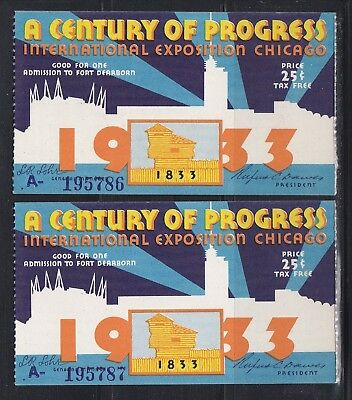 NICE Pair 2 1933 Chicago Century of Progress Ticket stubs - Consecutive Numbers
