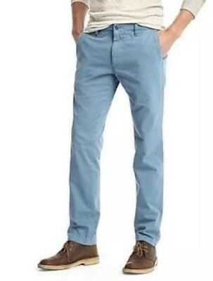 New! Gap SLIM Slub Cotton Light Blue Chinos Pants Sz 34 X 32 NWOT Men's