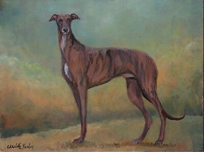 Greyhound Dog Art Reproduction from Oil Painting Signed Matted