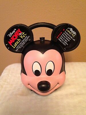 Hard Plastic Mickey Mouse Head Lunch Box With Aladdin Thermos Very Nice