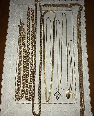 Vintage Estate COSTUME JEWELRY MIXED LOT Of 9 Gold Tone Necklaces