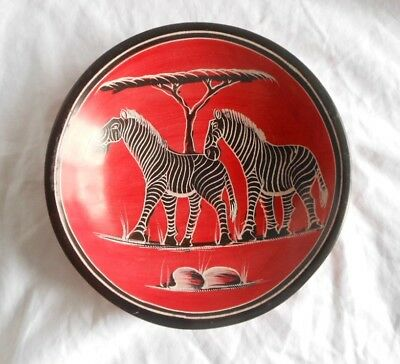 African Kenya Soapstone Hand Carved Bowl or shallow Plate Zebras
