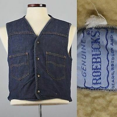 M Mens 1960s Denim Jean Vest Snap Front Faux Shearling Lined Hippie Workwear 60s