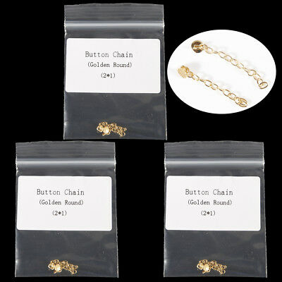 3 bags Dental Orthodontic Traction Chain Golden Round Mesh Base Lingual Buttons