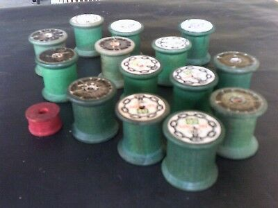15 Vintage Asst. Sizes Wooden Thread Spools Various Labels Old Sewing