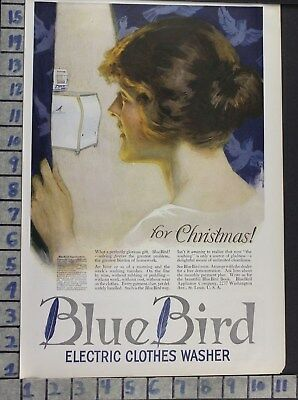 1919 Blue Bird Electric Washer Appliance Laundry Wash Home Decor Art Ad  Bv57
