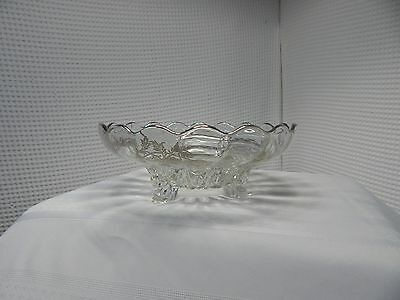 "Vintage! Footed 10"" Sterling Silver Flower Overlay Glass Bowl"