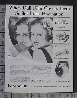 1930 Dentistry Medical Pepsodent Tooth Paste Doctor Health Vintage Ad Dm79