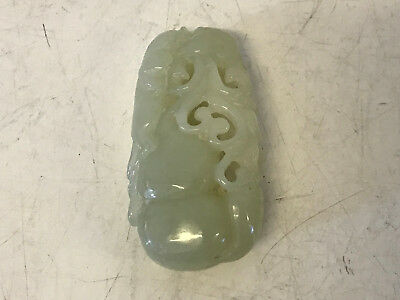 Antique Old Chinese Jade Carved Beast Flower & Possibly Peach Toggle Carving