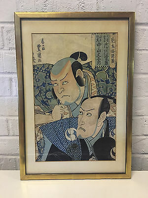 Antique Japanese Signed Woodblock Print 2 Kabuki or Noh Theater Actors