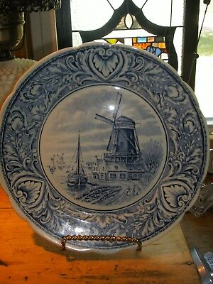 VINTAGE Delft  Boch  Royal Spinx Holland Hanging Plate 10 INCHES WINDMILL SEA