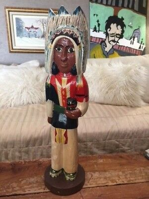 Vintage Cigar store Indian carving hand Painted small 15.5""