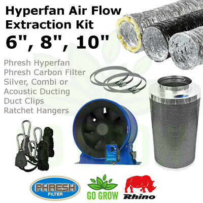 "6"", 8"", 10"" Hyperfan Indoor Hydroponic Grow Room Air Flow Kit"
