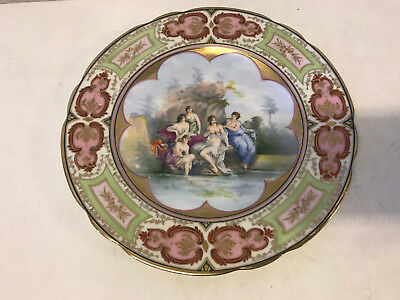 Antique Austrian Royal Vienna Signed Painted Porcelain Cabinet Plate Nude Women