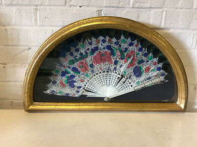 Antique Chinese Export Painted Fan Bird Floral Peacock Feather Shadowbox Frame