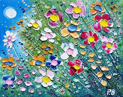 Colourful Meadow Flowers in Love, original oil painting on canvas, by Phil Broad