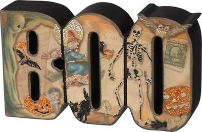 New Primitives By Kathy BOO Wood Block Sign Halloween Decoration Vintage Designs