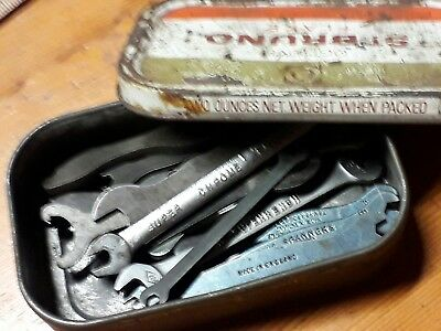 VINTAGE VARIOUS SMALL BA SPANNERS in a old tin. Terry's / King Dick, others