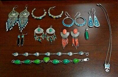 Large Lot of Sterling Silver Native American Jewelry w/ Turquoise, Coral & More