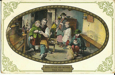 """Greeting Postcard - """"Both Father & Mother Thos Faed"""" - Parents & Children"""