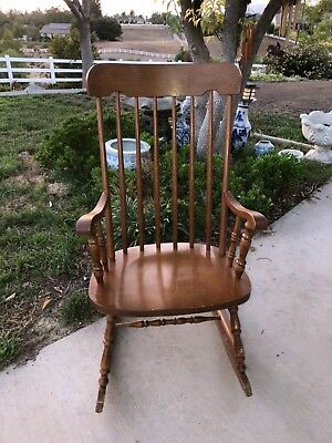 Vintage Traditional Solid Wood Spindle Back Rocking Chair Small Adult/child