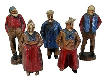 Vintage hand carved folk art seamen and woman characters