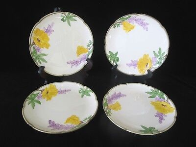 "FRANCISCAN Yellow POPPY Purple FLOWER Vintage 8 1/4"" Salad Plate Set of 4"