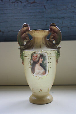 Antique Porcelain Double Handled Dragon Wing Vase Urn Transferware Hand Painted