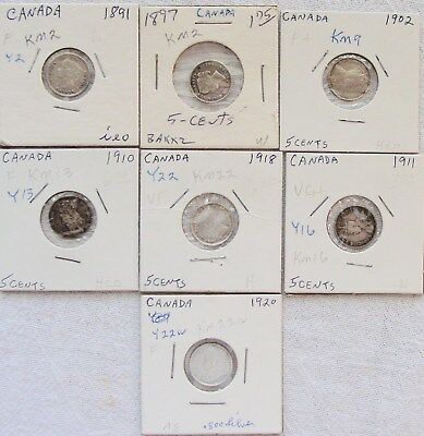 World Coins: Canada 5 ct. Silver 1891-1920