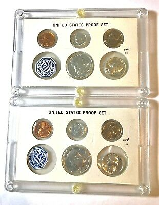 (2) US Mint Silver Proof Sets 1963 and1964, Flat Pack in Capital Holder