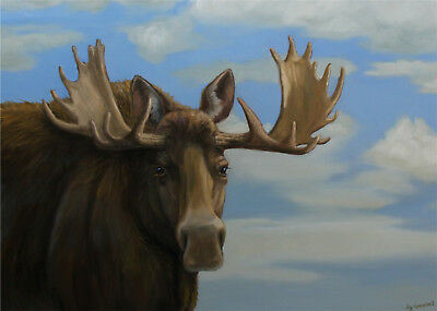 Moose  ACEO print from original oil by Joy Campbell