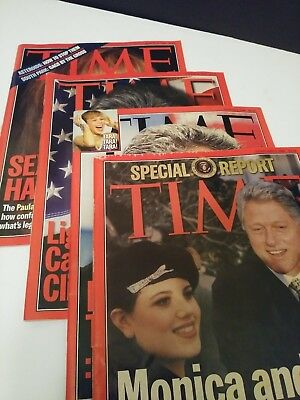 VINTAGE BILL CLINTON Magazines time 1998 LOT OF FOUR, MONICA AND BILL, politics