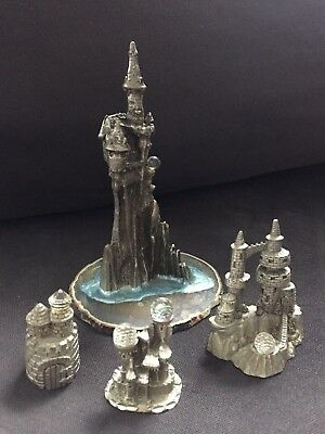 Pewter Castle collection w/crystal inset Lot of 4 FREESHIP Differnt Manufact.