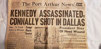 Vintage Port Arthur, TX Kennedy Assassination Newspaper