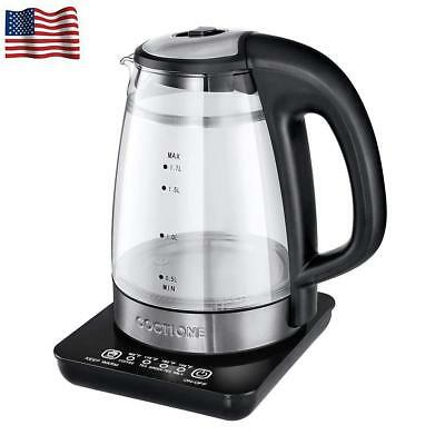 Electric Kettle Digital Glass Double Wall Cool Touch Raw Tea Water Boiler 1.7L