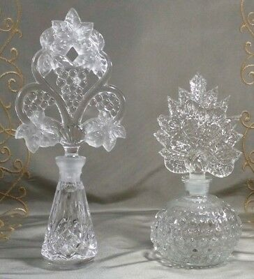 VINTAGE CRYSTAL PERFUME BOTTLES Lot of TWO Tall Ornate STOPPERS MisMash?