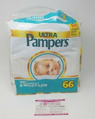 Vtg Pampers Lot of 46 Diapers Plastic 1985 Bag Opened 6-14 lb Movie Prop Blue