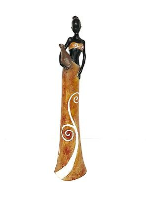 "20"" Exotic African Tribal Woman Lady Resin Figurine Creative Home Decor Statue"