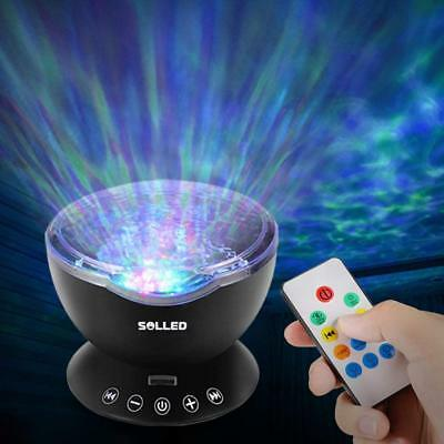 Ocean Wave Projector 12 LED 7 Colors Sea Night Light Remote Control Music Player