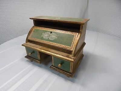Vintage! Hand Painted Wooden Jewlery Box Office Writing Desk
