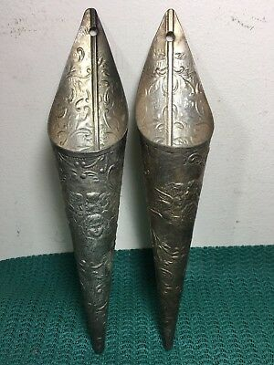 Pair Of Rare Antique Hand Chased Sterling  Plated Cherib Wall Pocket Match Vases