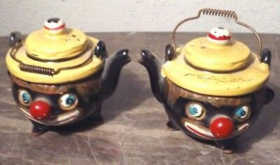 Vintage Kettle Pot With Face Pair Salt And Pepper Shaker Shakers