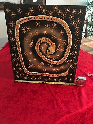 Mexican Folk Art Painting Bas Relief Panel of Snake