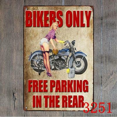 Bikers Only Free Parking Vintage Metal Tin Signs Plate Decor Art Wall Poster