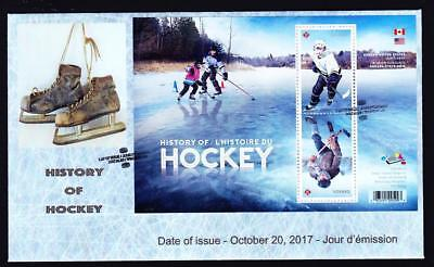 Canada limited edition FDC 2017 sc#3039 History of Hockey tête-bêche pair S/S