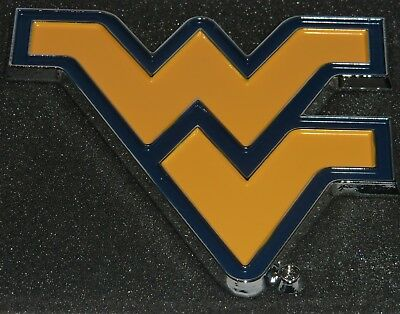 """West Virginia Mountaineers Chrome Metal Auto Emblem (Yellow """"WV"""") NCAA Licensed"""