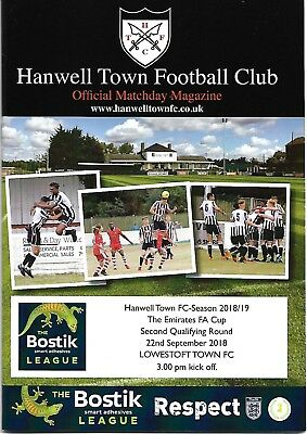 2018-19   Hanwell Town v Lowestoft Town  FA Cup  programme