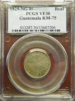 Very Rare Provisional Guatemala 1829-NG M Real, KM75. PCGS VF30 (undergraded)