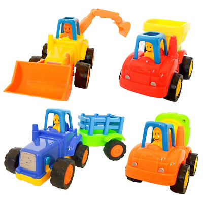 Friction Powered Car Set of 4Pcs Early Educational Cartoon Vehicle for Kids NEW